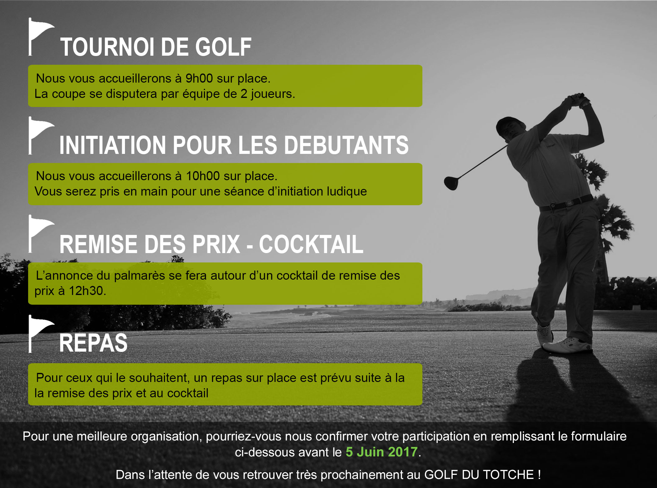 Planning golf cup 2017 5 juin