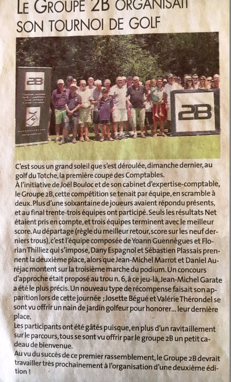 article golfcup 2017 groupe2b
